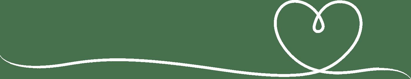 Herzzeichnung weiß als geschwungene Linie - Symbol für Bestatter mit Herz - Patotzki Bestattungen